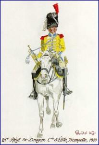 Trompette du 21ème régiment de dragons, compagnie d'élite, 1810.