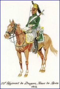 Dragon du 23ème régiment, 1812.