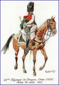 Dragon du 25ème régiment, compagnie d'élite, 1812.