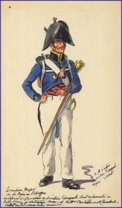 Tambour-major du 15e de ligne en tenue de campagne en Espagne vers 1810-1811.