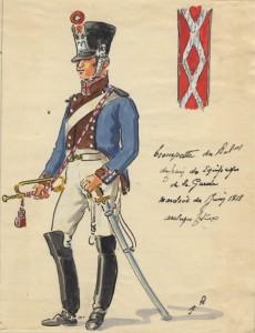 Trompette du bataillon du train des équipages de la Garde Impériale en 1813-1814,