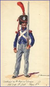 Carabinier du  21ème léger en tenue de campagne, Espagne 1810-1811.