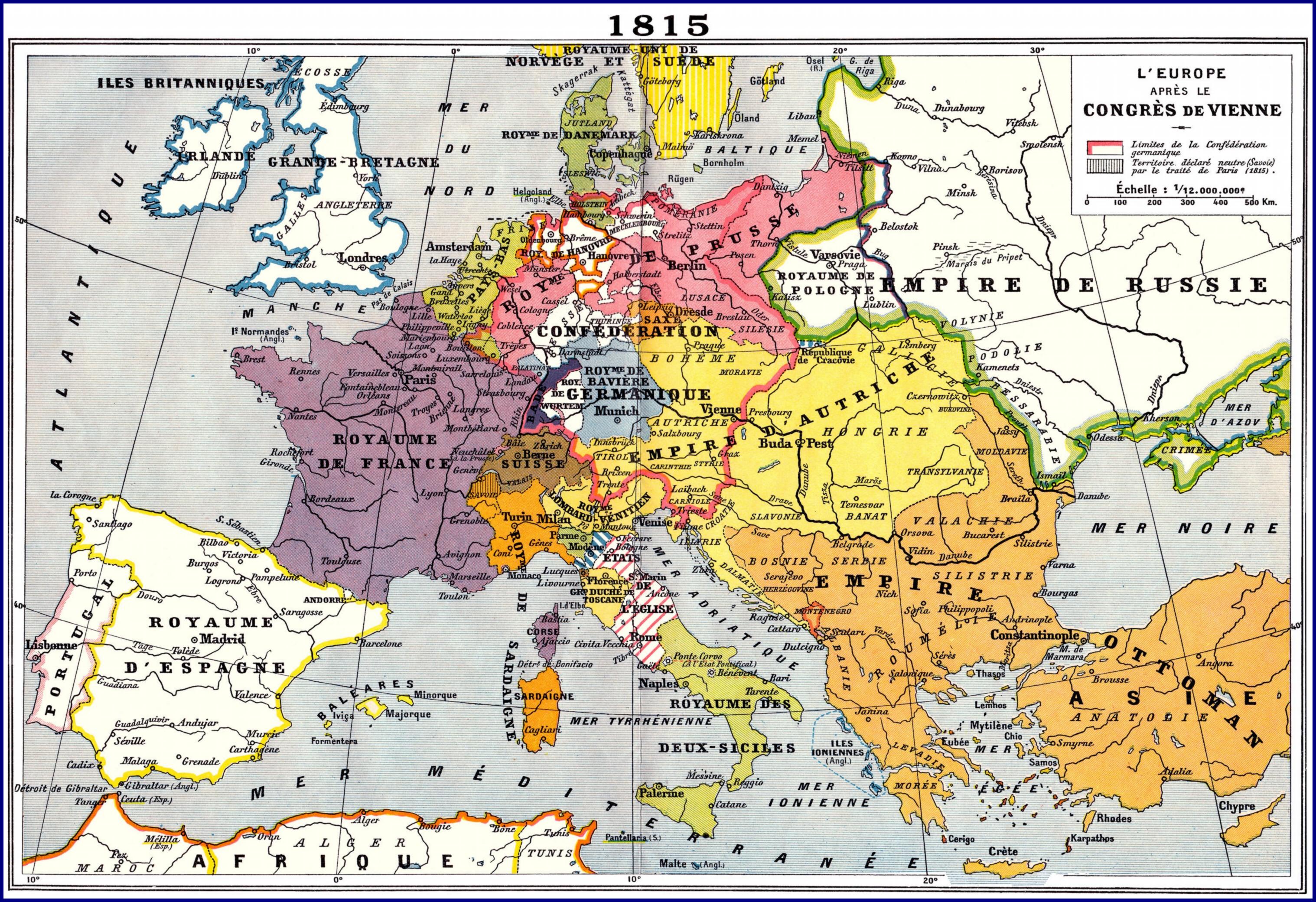 Le CONGRES de VIENNE et la NOUVELLE du DEBARQUEMENT de NAPOLEON, en 1815… dans TEMOIGNAGES europe-1815-congres-de-vienne
