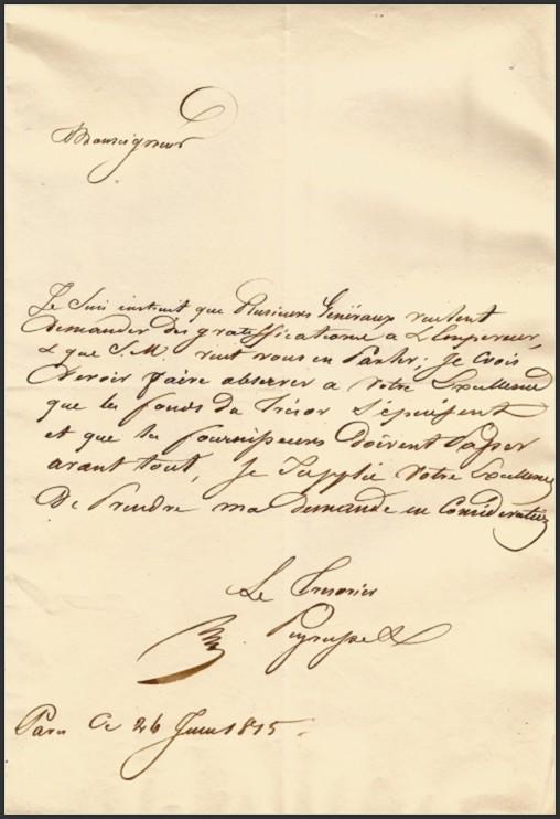 G. PEYRUSSE. Lettre écrite à la suite de l'abdication de Napoléon.